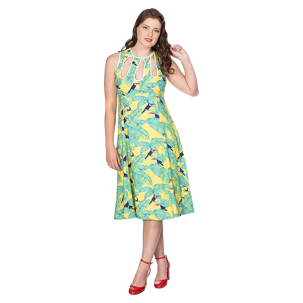 Banned All Over Toucan Dress (Yellow)