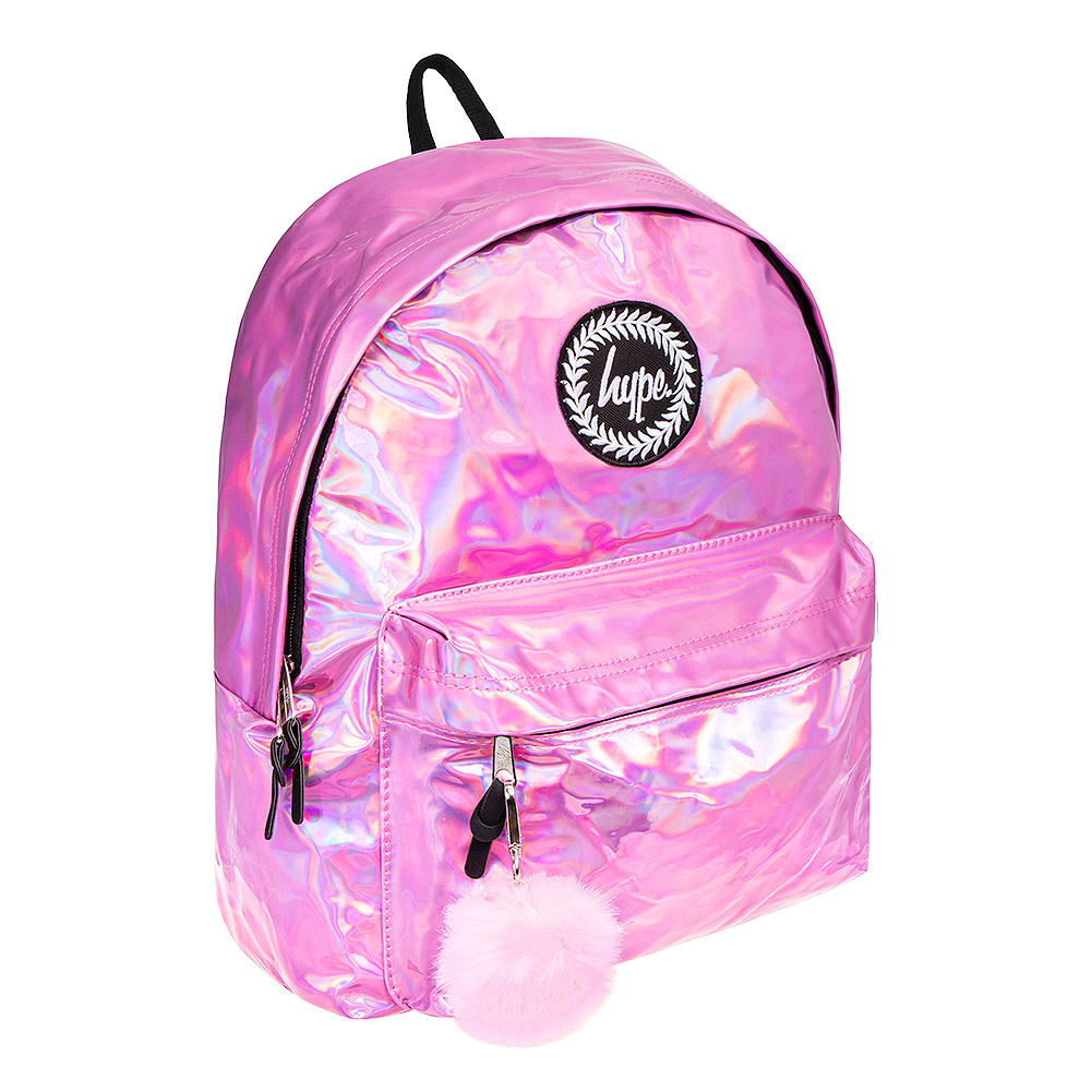 Hype Holographic Pom Pom Backpack (Pink)