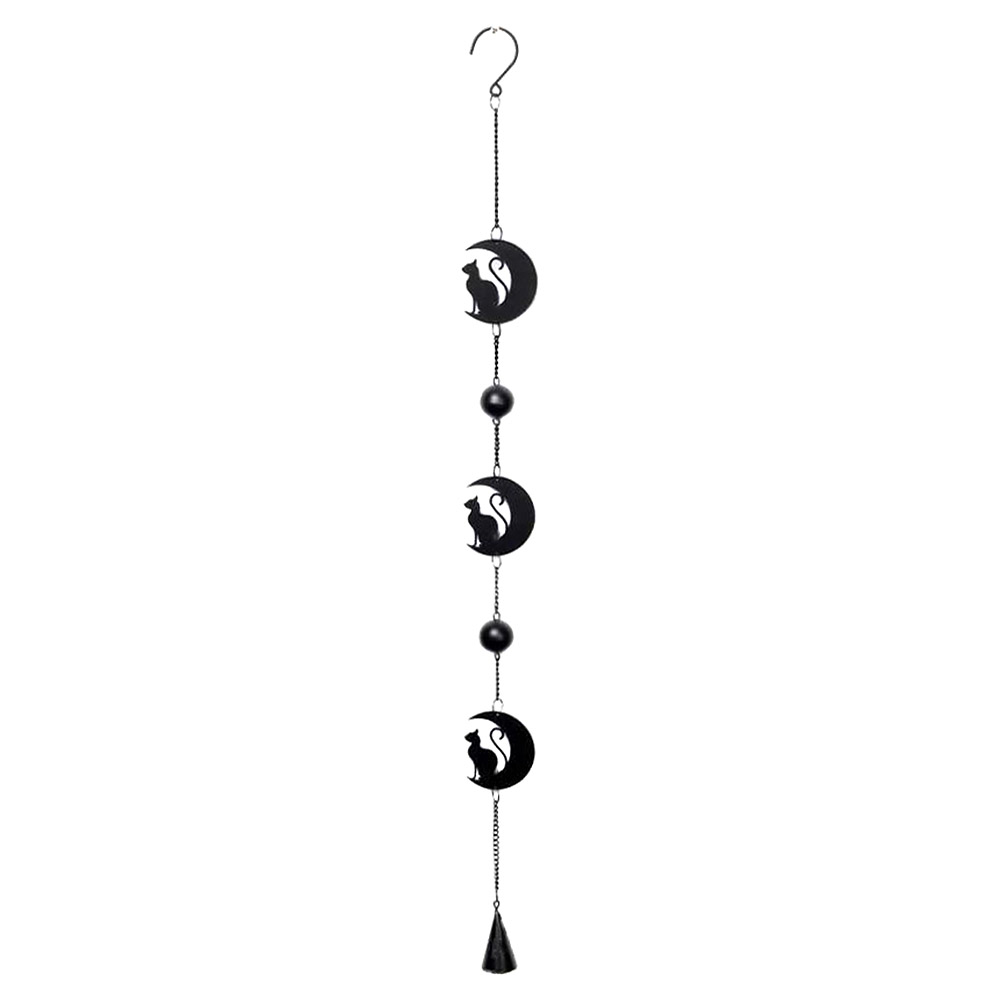 Alchemy Gothic Black Cat & Moon Hanging Decoration (Black)