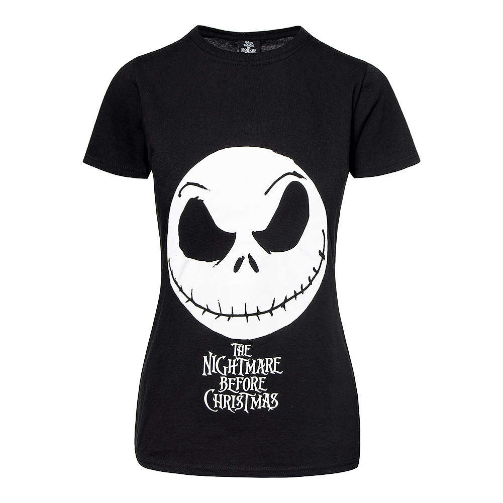 Nightmare Before Christmas Jack Face Skinny T Shirt (Black)