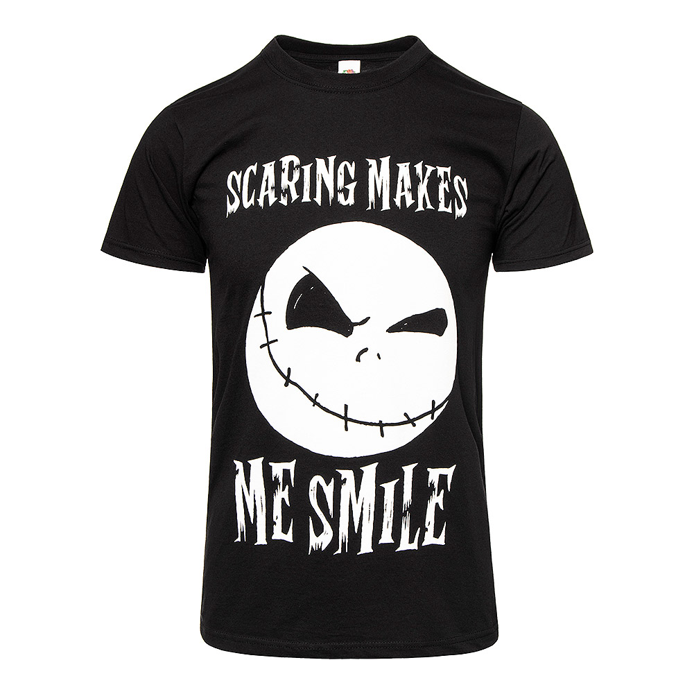 Nightmare Before Christmas Scaring Makes Me Smile T Shirt (Black)