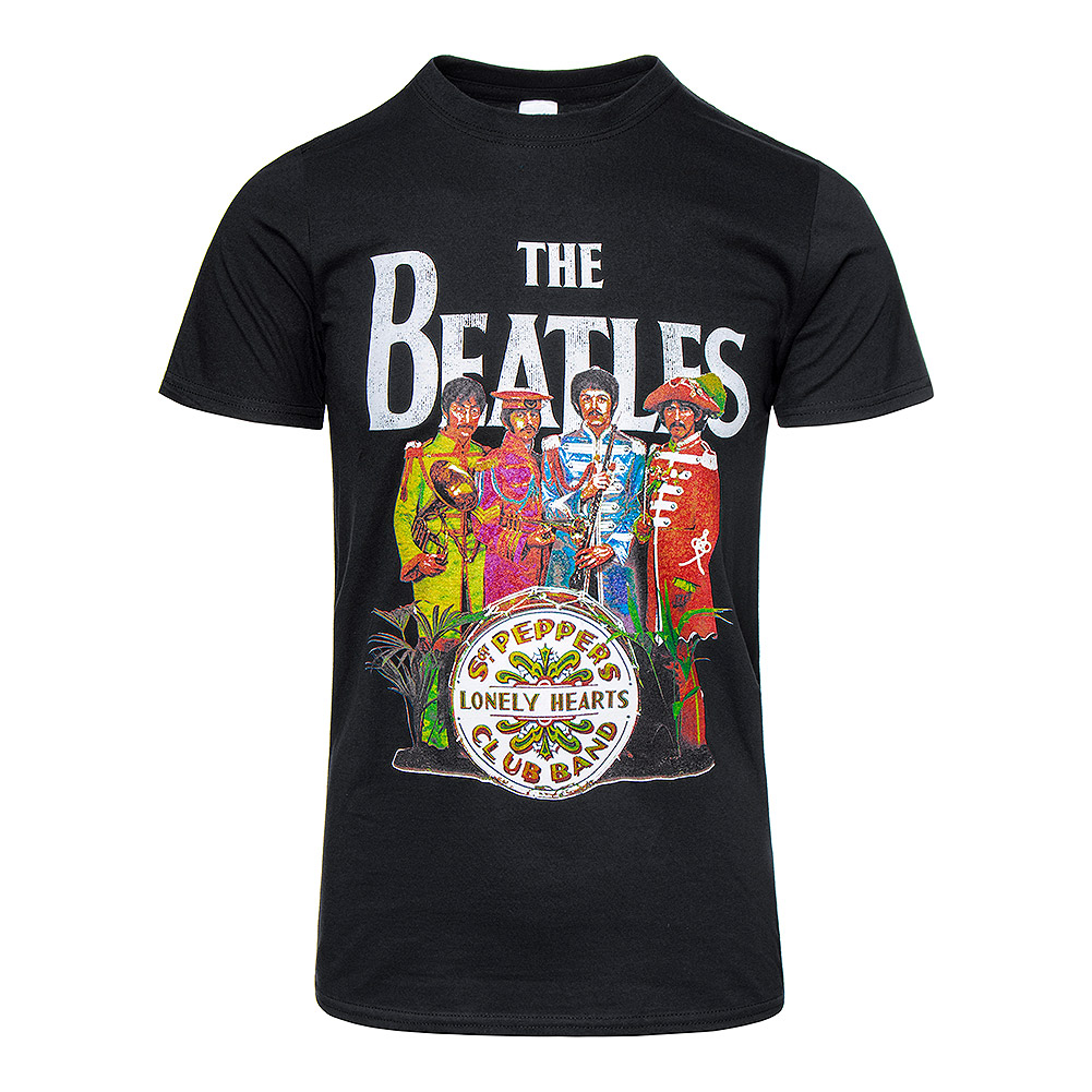 The Beatles Camiseta Oficial Estampada de Manga Corta Sgt Pepper (Negro)