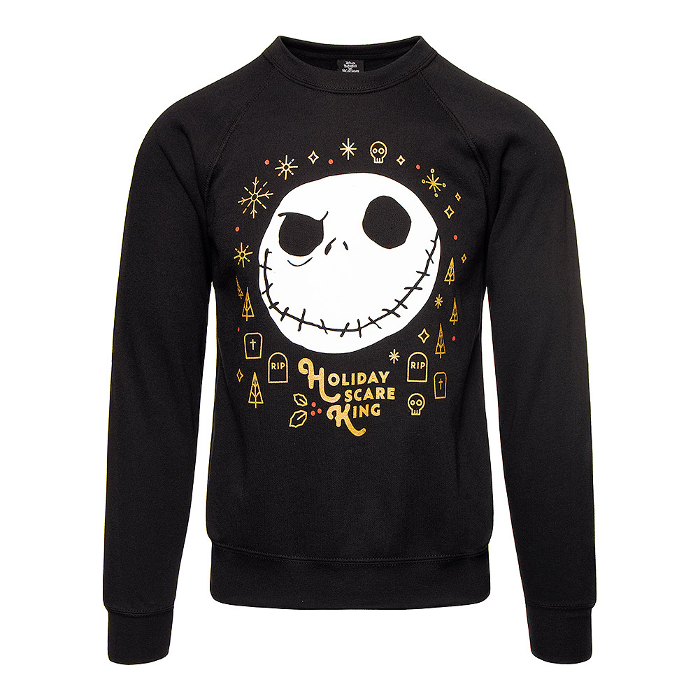 Nightmare Before Christmas Holiday Scare King Crew Neck Sweater (Black)