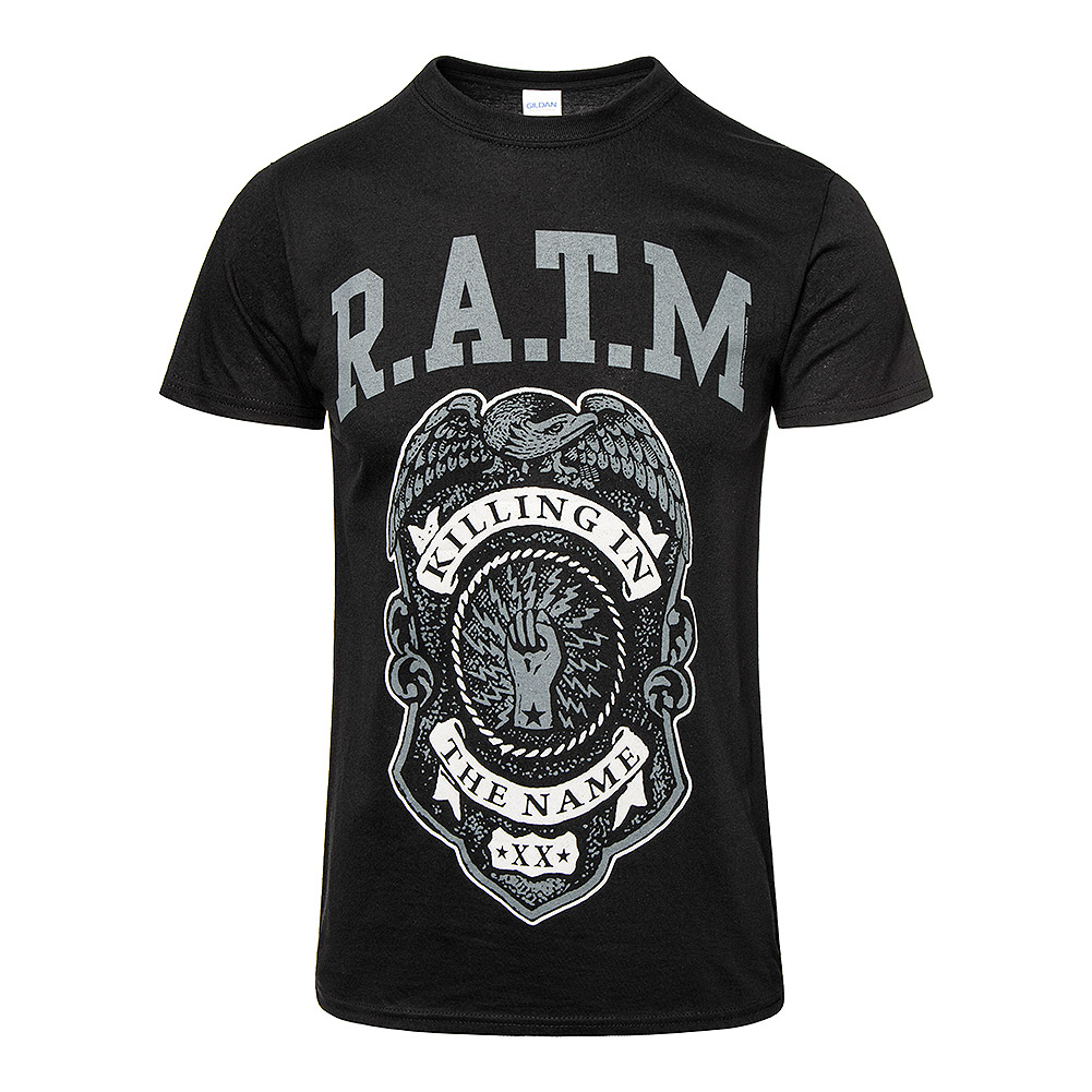 Rage Against The Machine Camiseta Oficial Con Estampado Police Badge (Gris)
