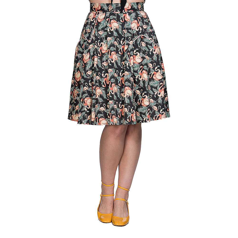 Banned Flamingo Honnie Flare Skirt (Black)