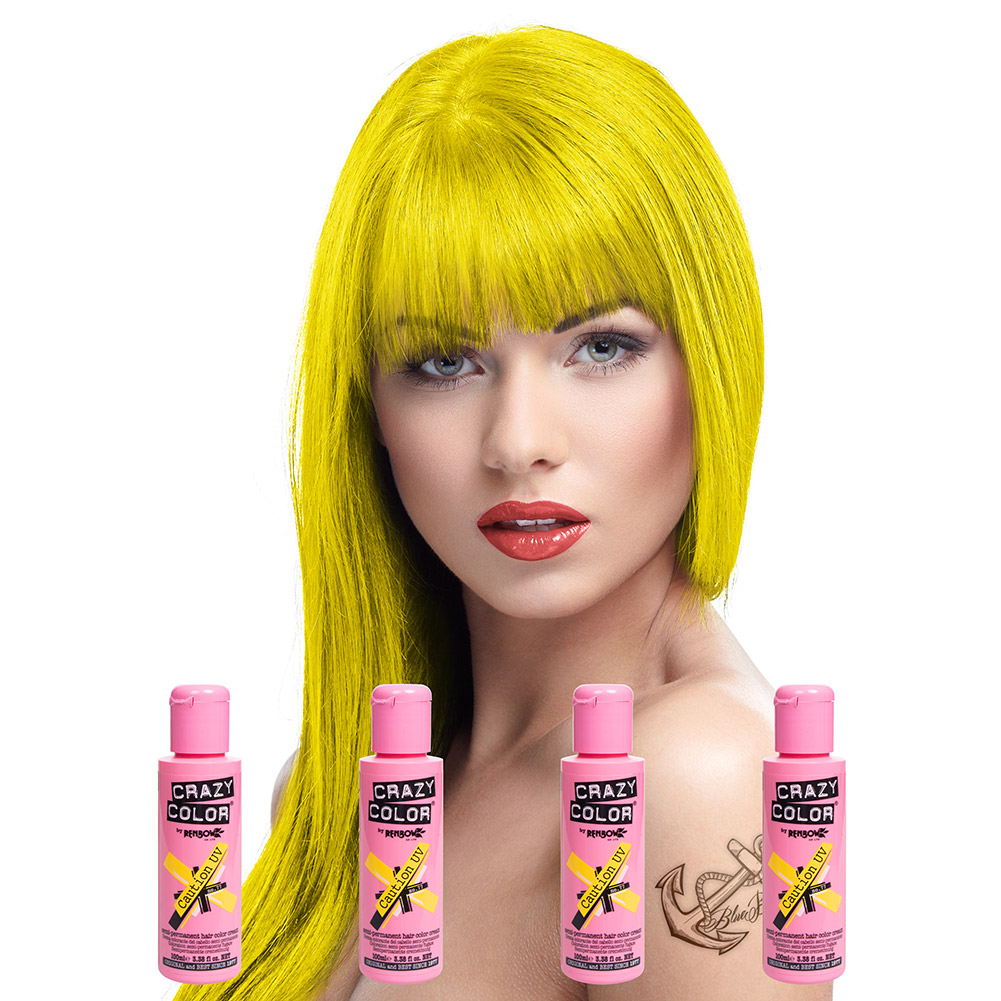 Crazy Color Semi-Permanent Hair Dye 4 Pack 100ml (Caution UV)