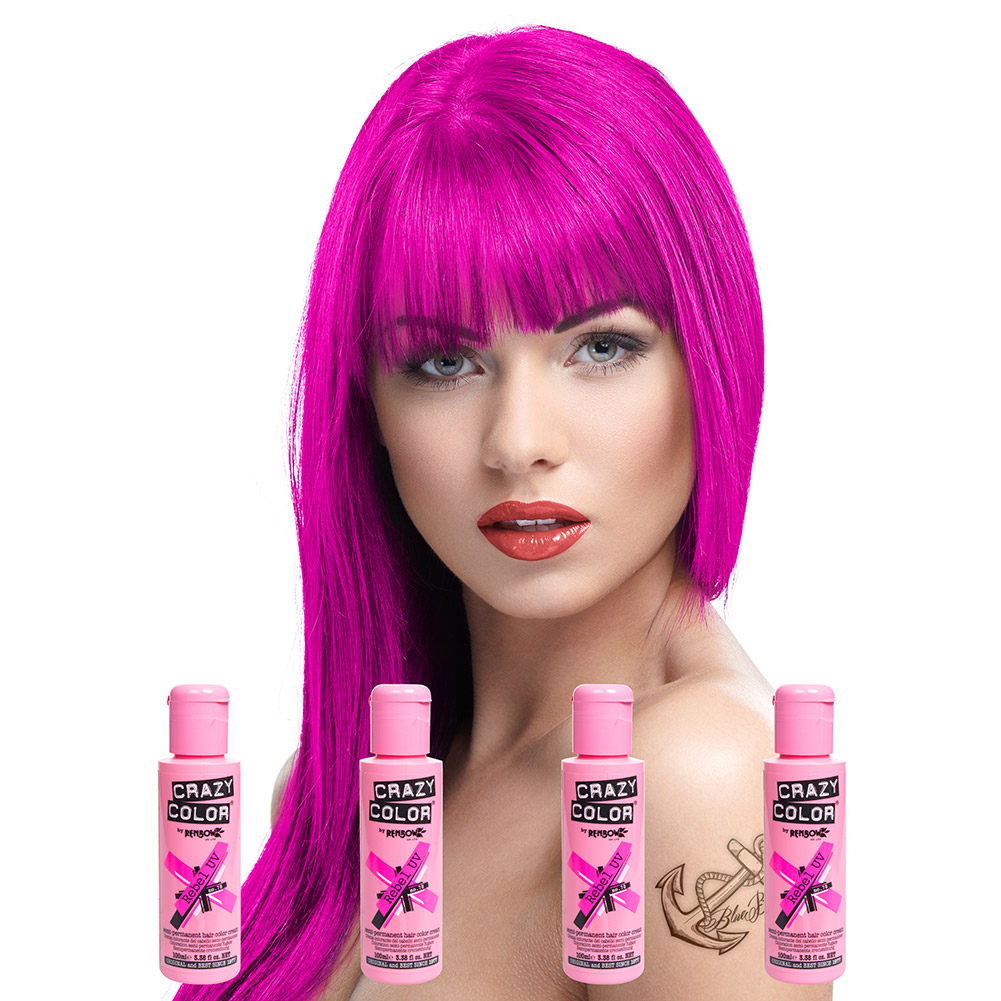 Crazy Color Semi-Permanent Hair Dye 4 Pack 100ml (Rebel UV)