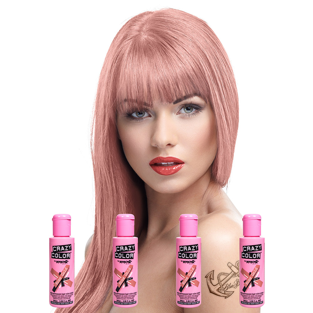 Crazy Color Semi-Permanent Hair Dye 4 Pack 100ml (Rose Gold)