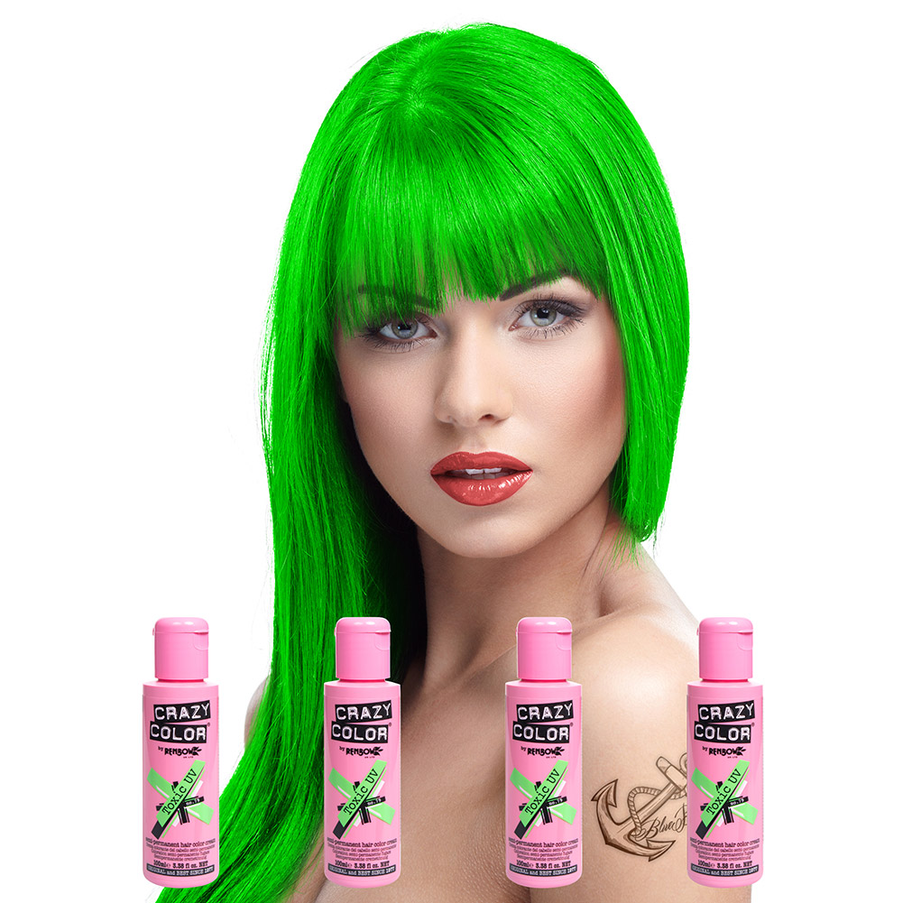 Crazy Color Semi-Permanent Hair Dye 4 Pack 100ml (Toxic UV)
