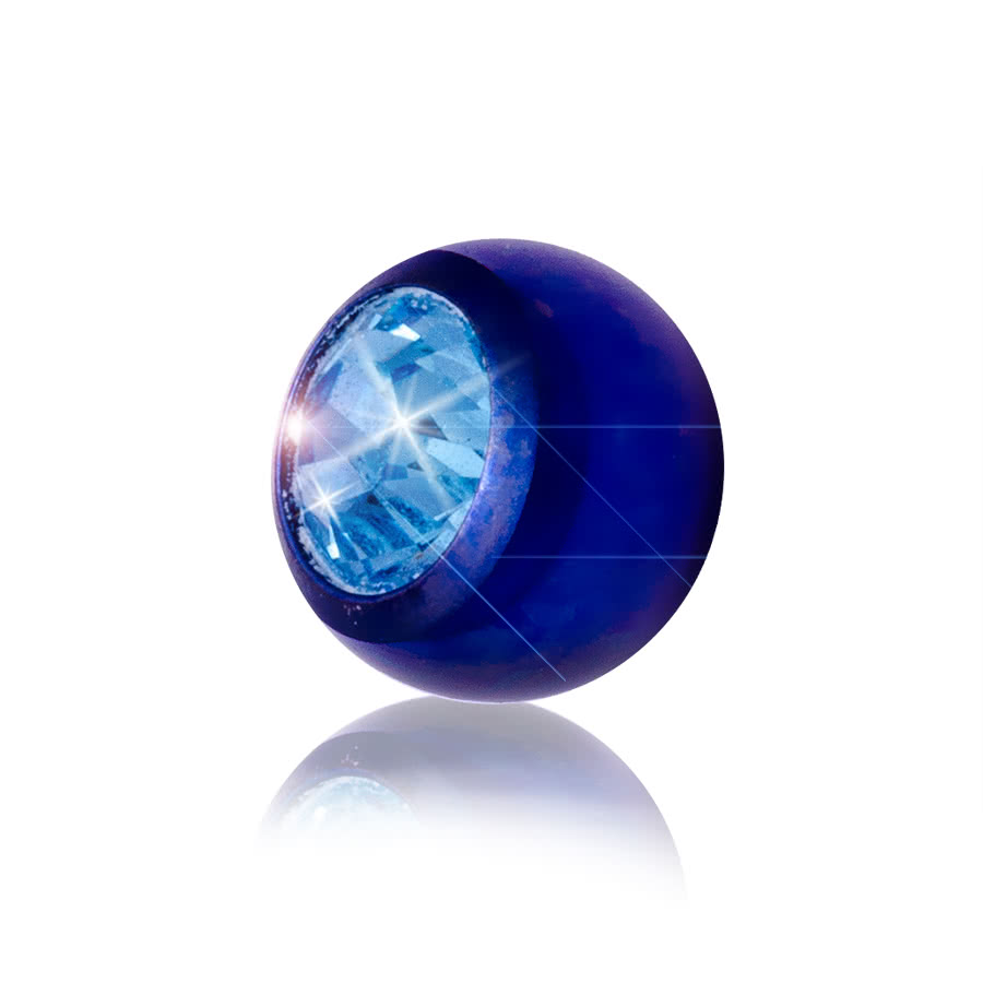 Blue Banana Coloured Titanium 5mm Jewelled Ball (Blue/Aqua)