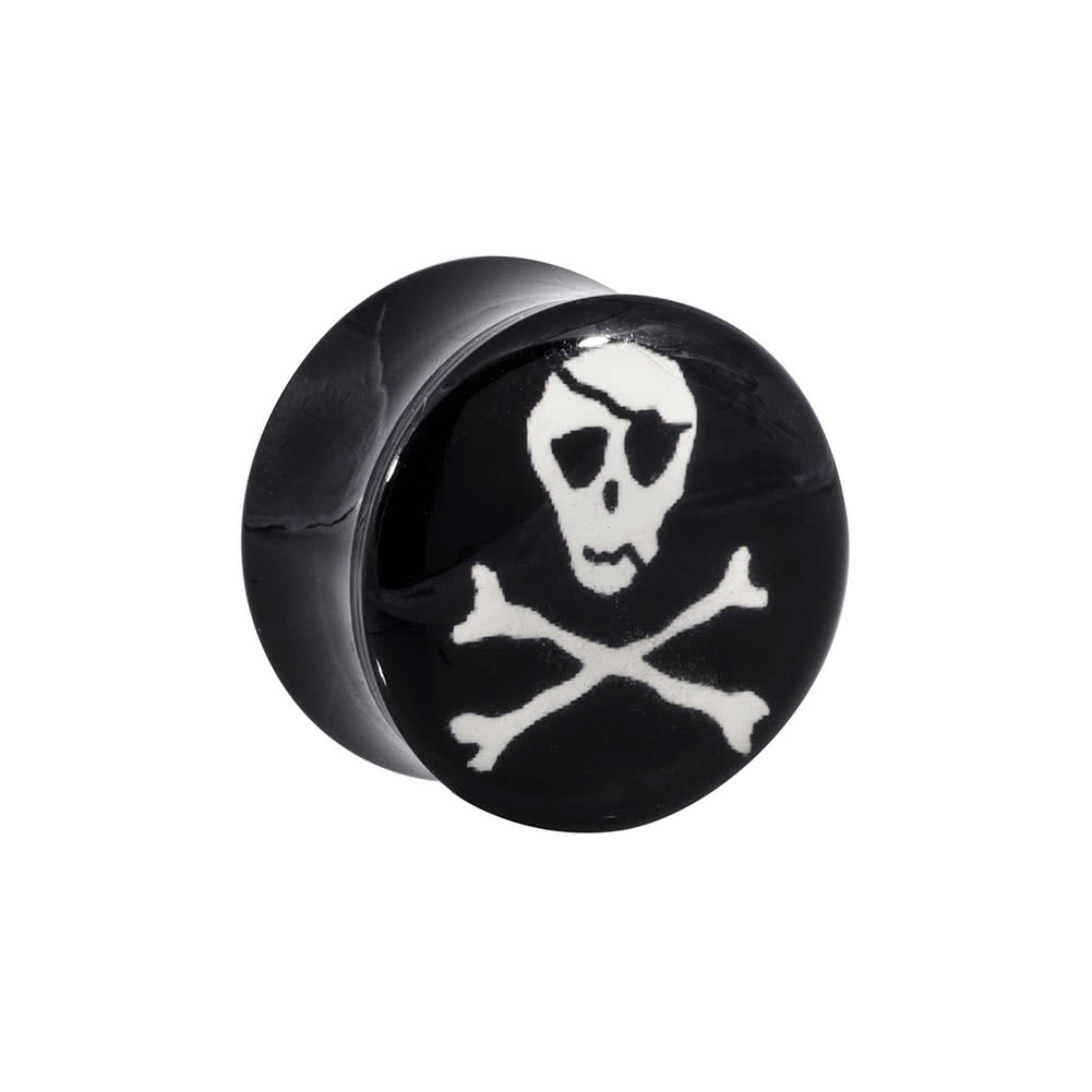 Ikon Acrylic Skull & Bones Ear Plug 4-20mm (Black/White)