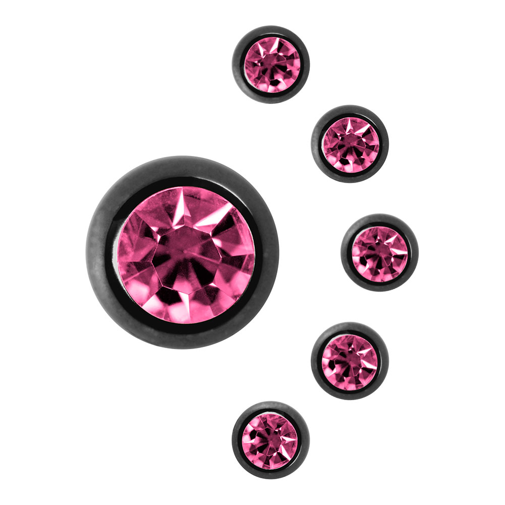 Blue Banana Black Titanium 3mm Jewelled Ball (Rose)