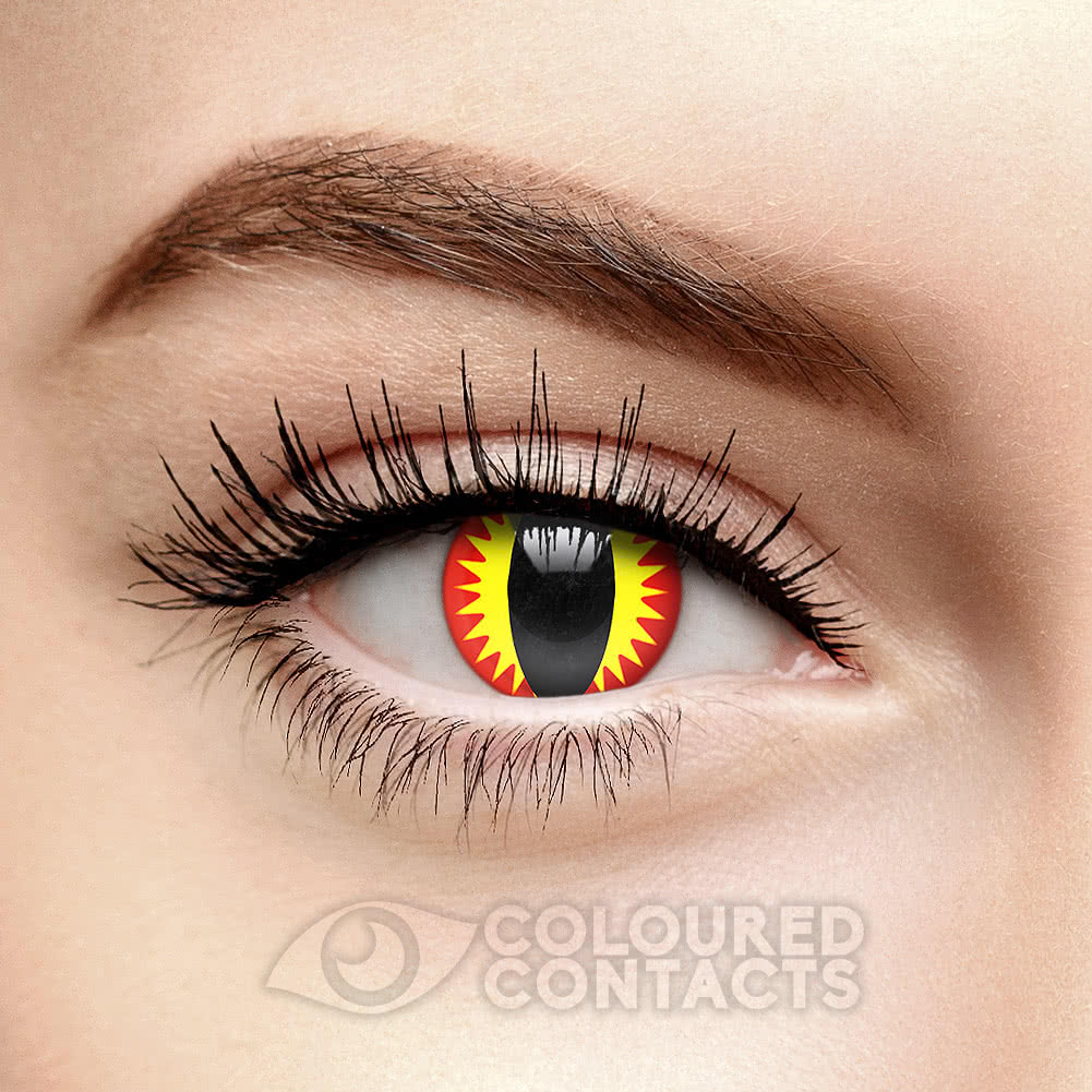 Dragon Eye 90 Day Coloured Contact Lenses (Red/Yellow)