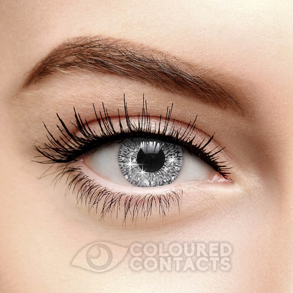 Glimmer 90 Day Coloured Contact Lenses (Silver)