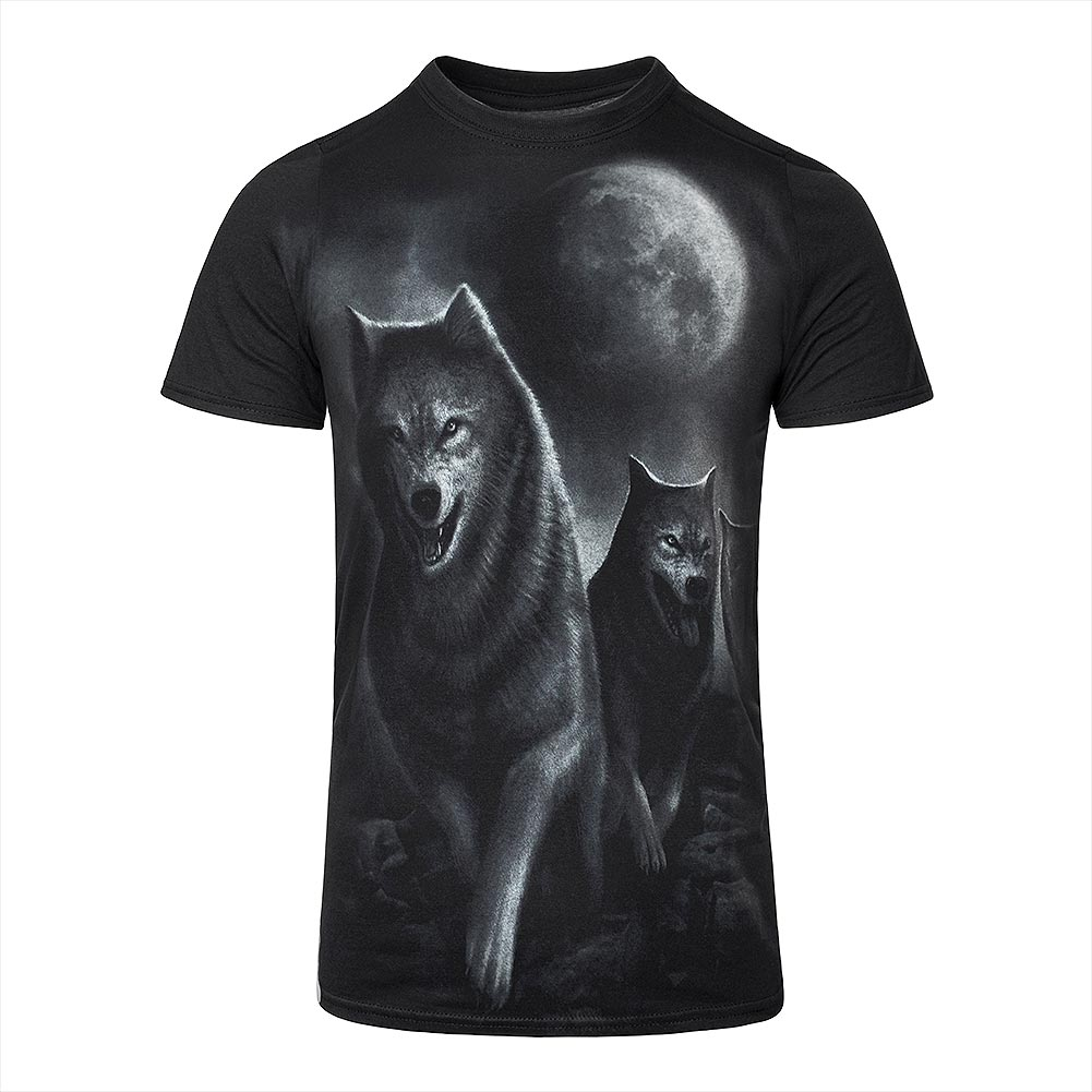 Spiral Direct Wolf Pack Wrap T Shirt (Schwarz)