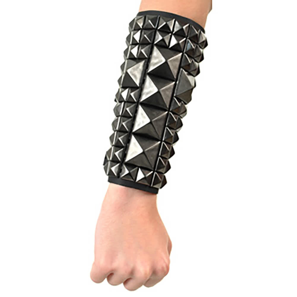 11 Row Studded Black Crucifix Wristband (Black)