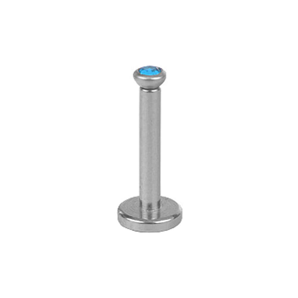 Blue Banana Polished Surgical Steel 1.2mm Internally Threaded Jewelled Labret (Aqua)