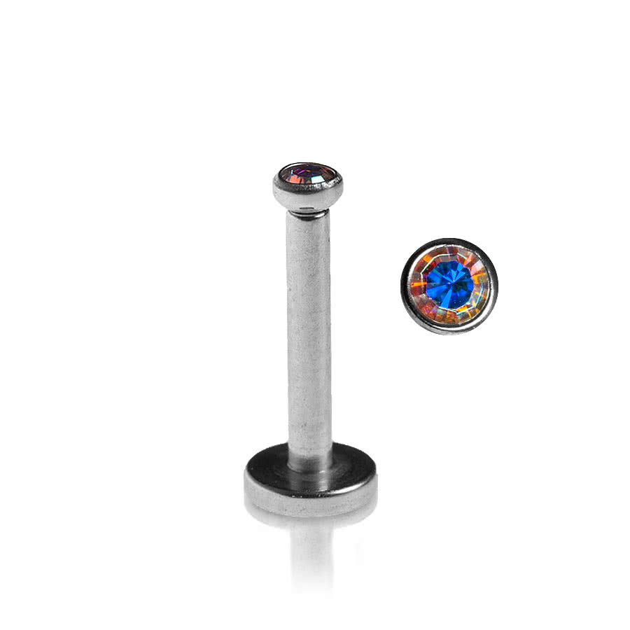Blue Banana Polished Titanium 1.2mm Internally Threaded Jewelled Labret (Aurora Borealis)