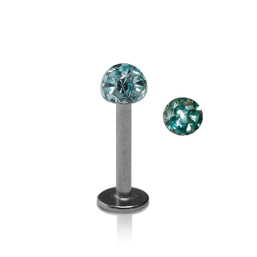 Piercing Labret Glitter Ball 1.2mm (Calibro/Spessore) Blue Banana Body Piercing (Acquamarina)
