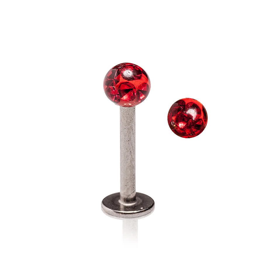 Glitter Ball Labret 1.2mm (Calibro/Spessore) Blue Banana Body Piercing (Siam)