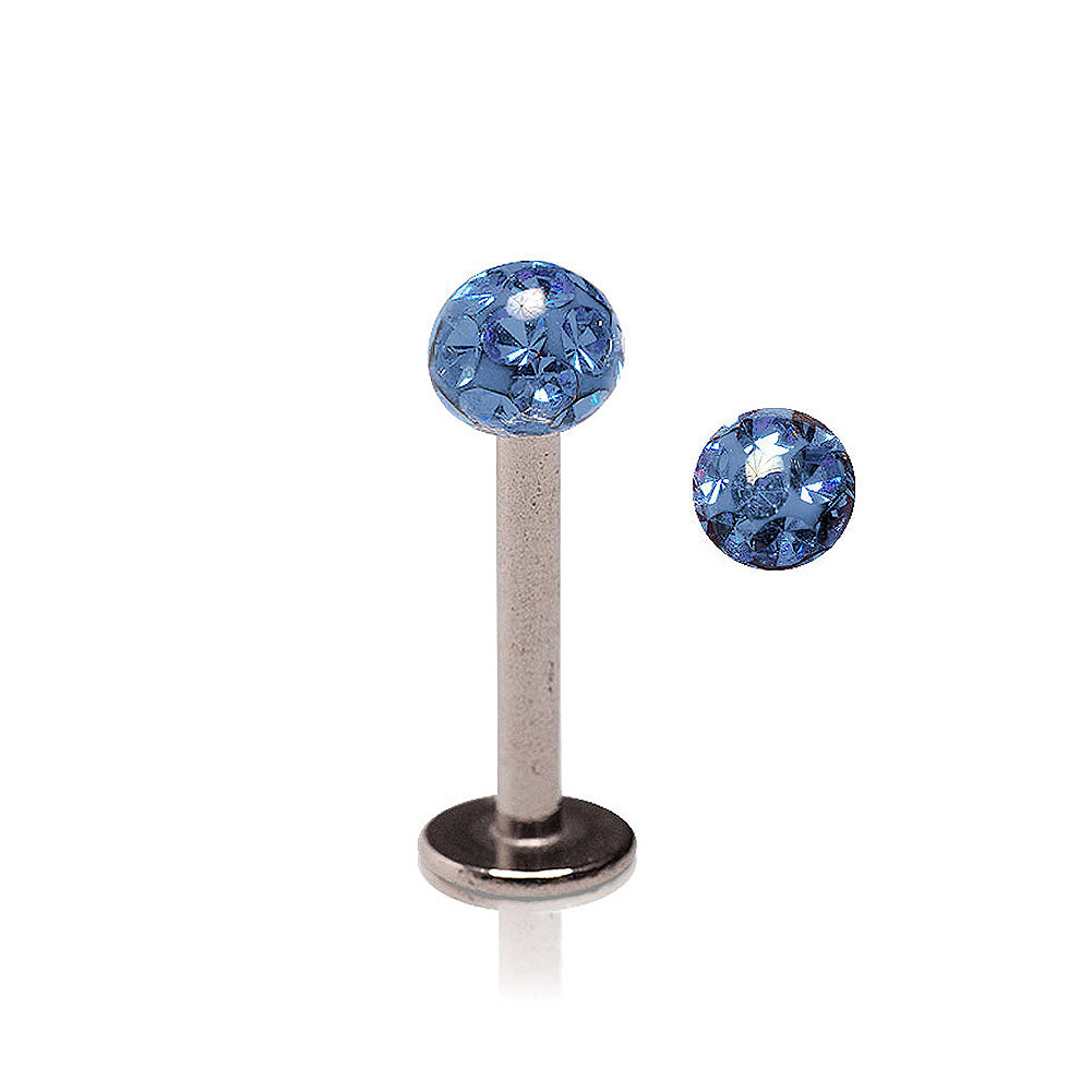 Blue Banana Glitter Ball 1.2mm Labret (Capri Blue)