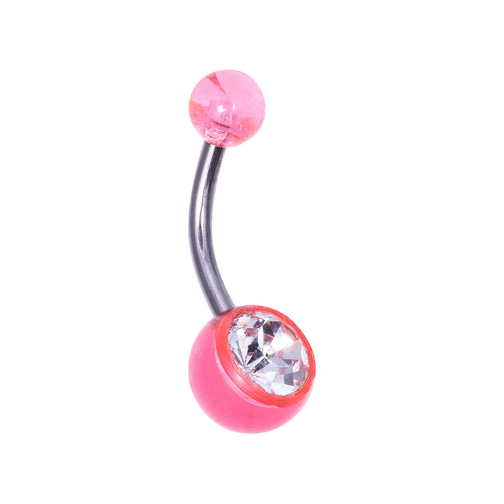 Blue Banana Surgical Steel 1.6mm Jewelled Plastic Ball Navel Bar (Crystal/Pink)