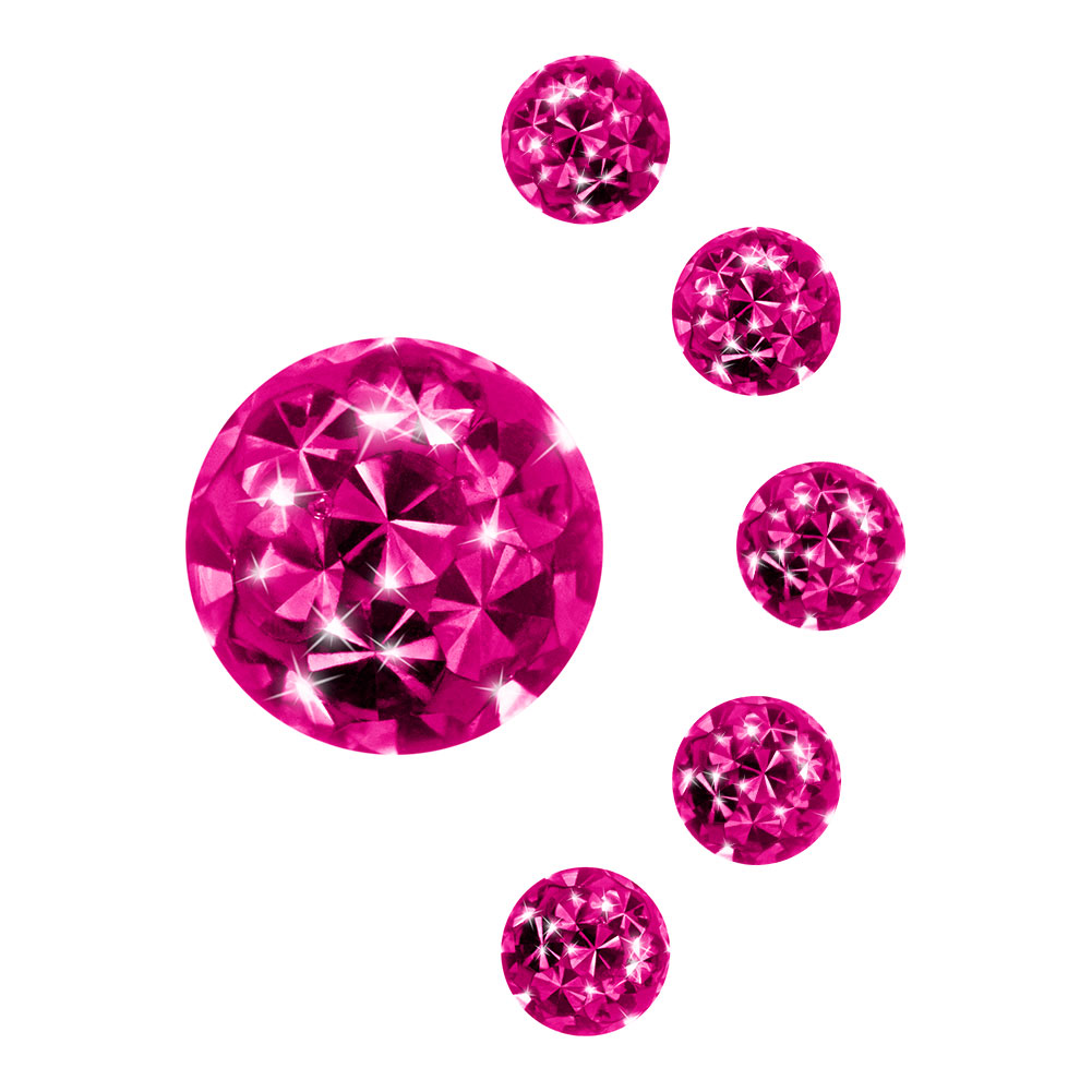 Blue Banana Surgical Steel 5mm Jewelled Glitter Ball (Fuchsia)