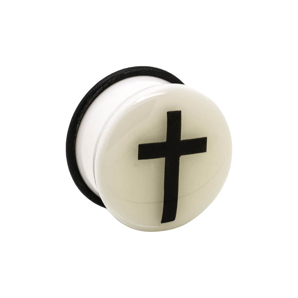Blue Banana Acrylic Glow Cross Ear Plug 6-24mm (White)