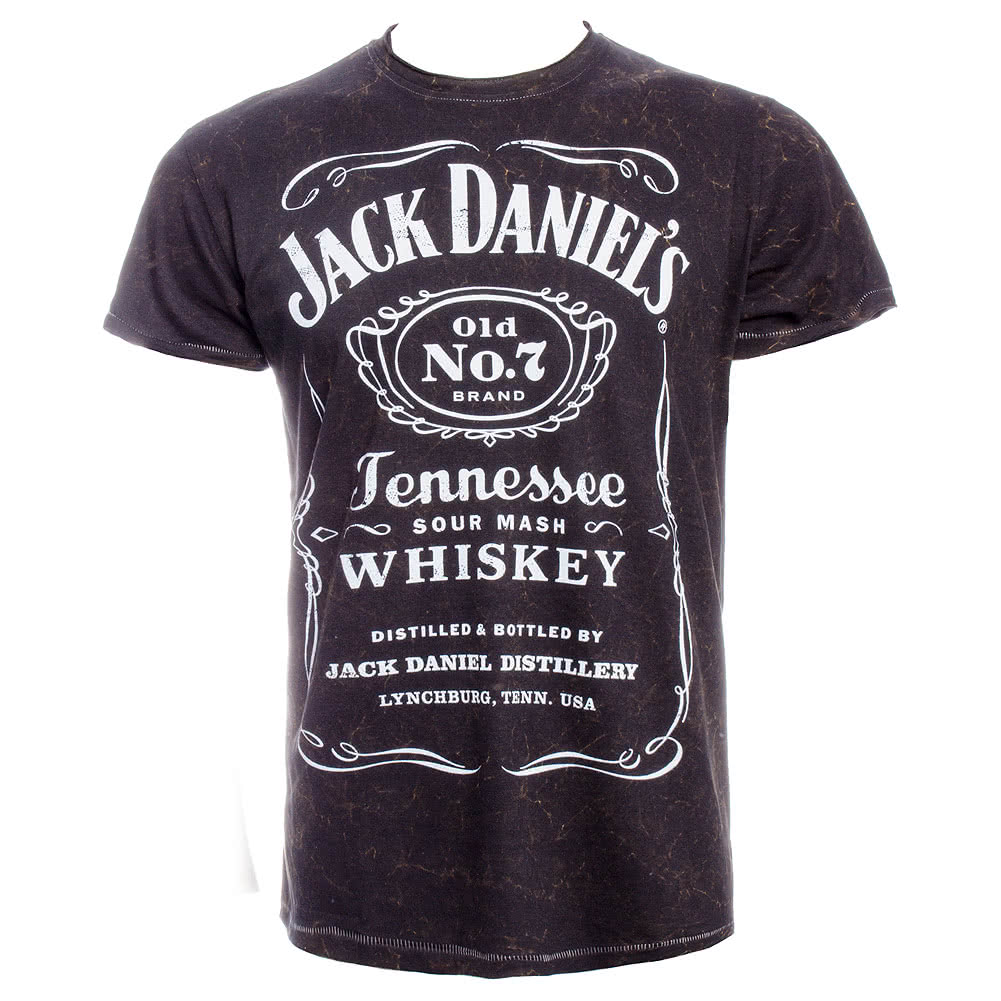 Jack Daniels Classic Acid Wash T Shirt (Black)