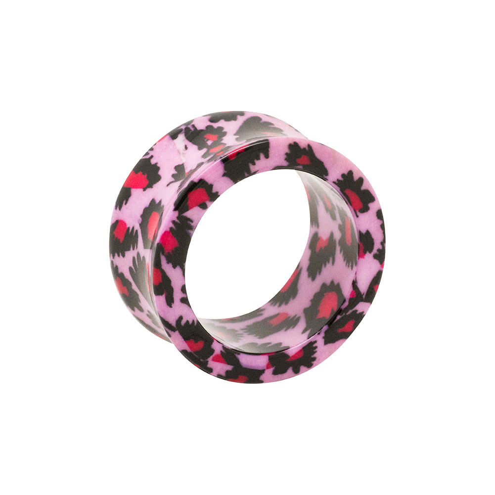 Blue Banana Acrylic Leopard Print Ear Flesh Tunnel 6-26mm (Pink)