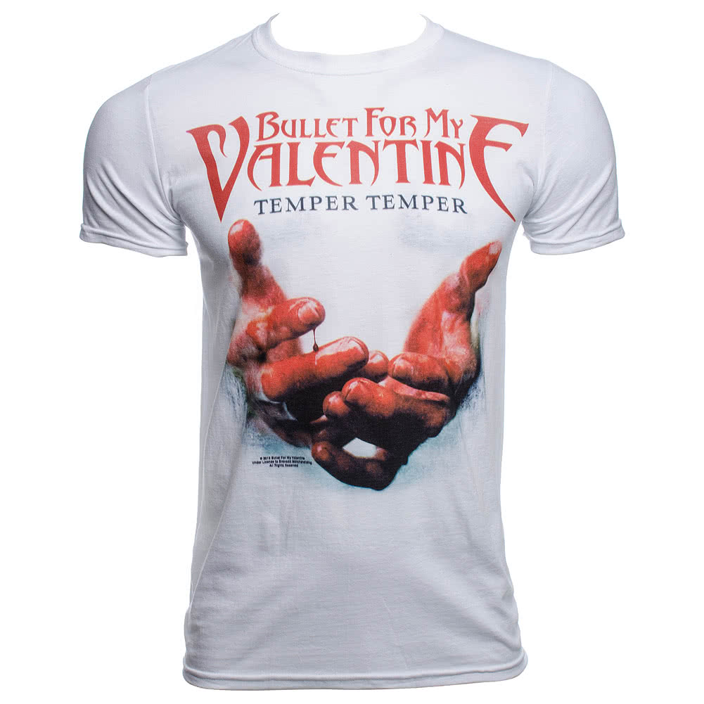 Official Bullet For My Valentine Temper Temper Blood Hands T Shirt (White)