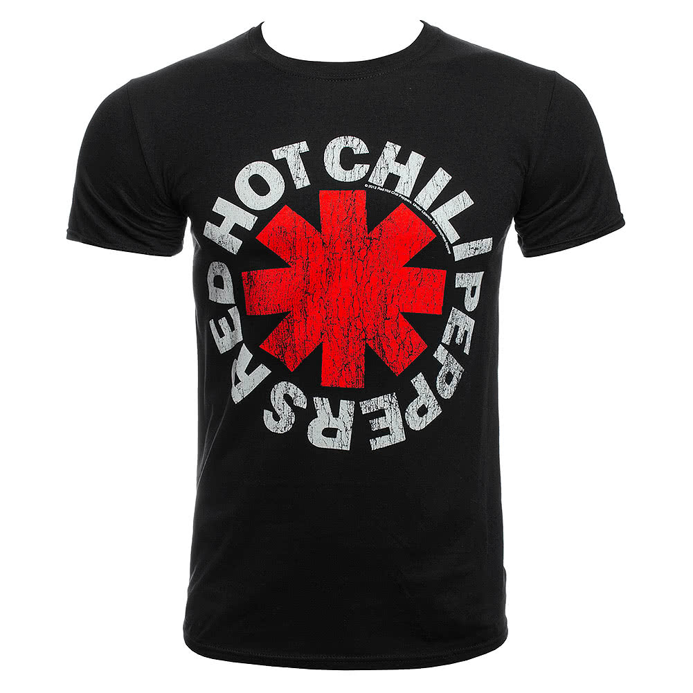 Official Red Hot Chili Peppers Distressed Asterisk T Shirt (Black)