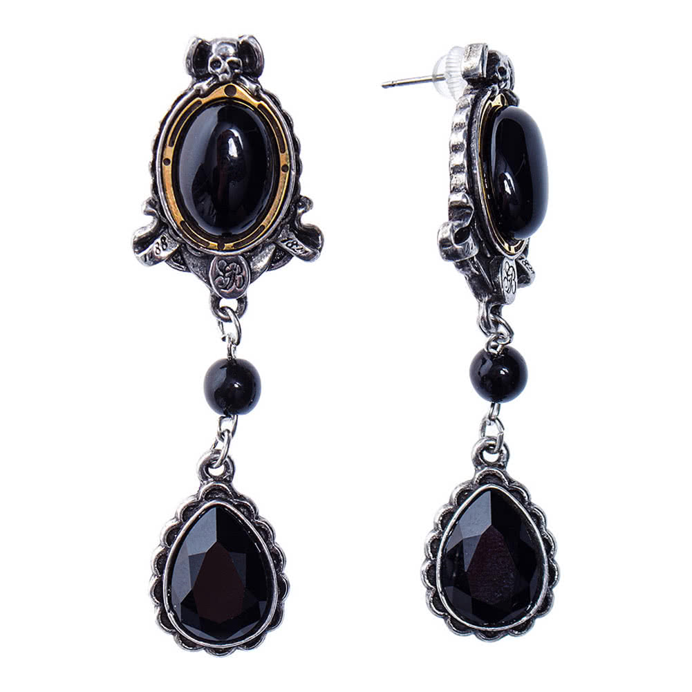 Alchemy Gothic She Walks In Beauty Earrings (Black/Silver)