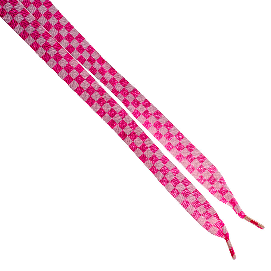 Blue Banana Check Laces (Pink/White)