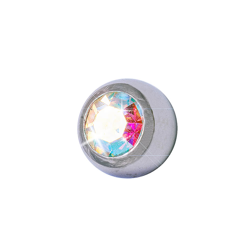 Blue Banana Surgical Steel 3mm Jewelled Ball (Aurora Borealis)