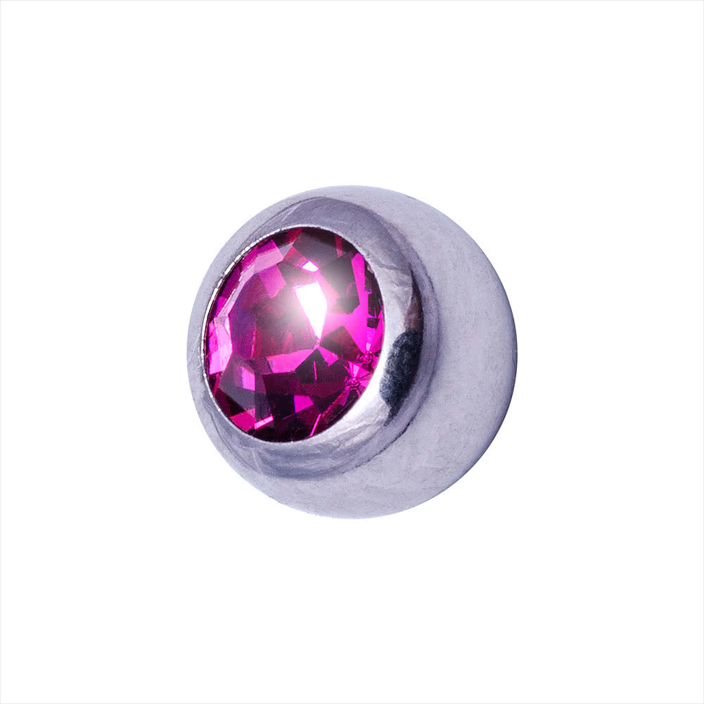 Blue Banana Surgical Steel 3mm Jewelled Ball (Fuchsia)