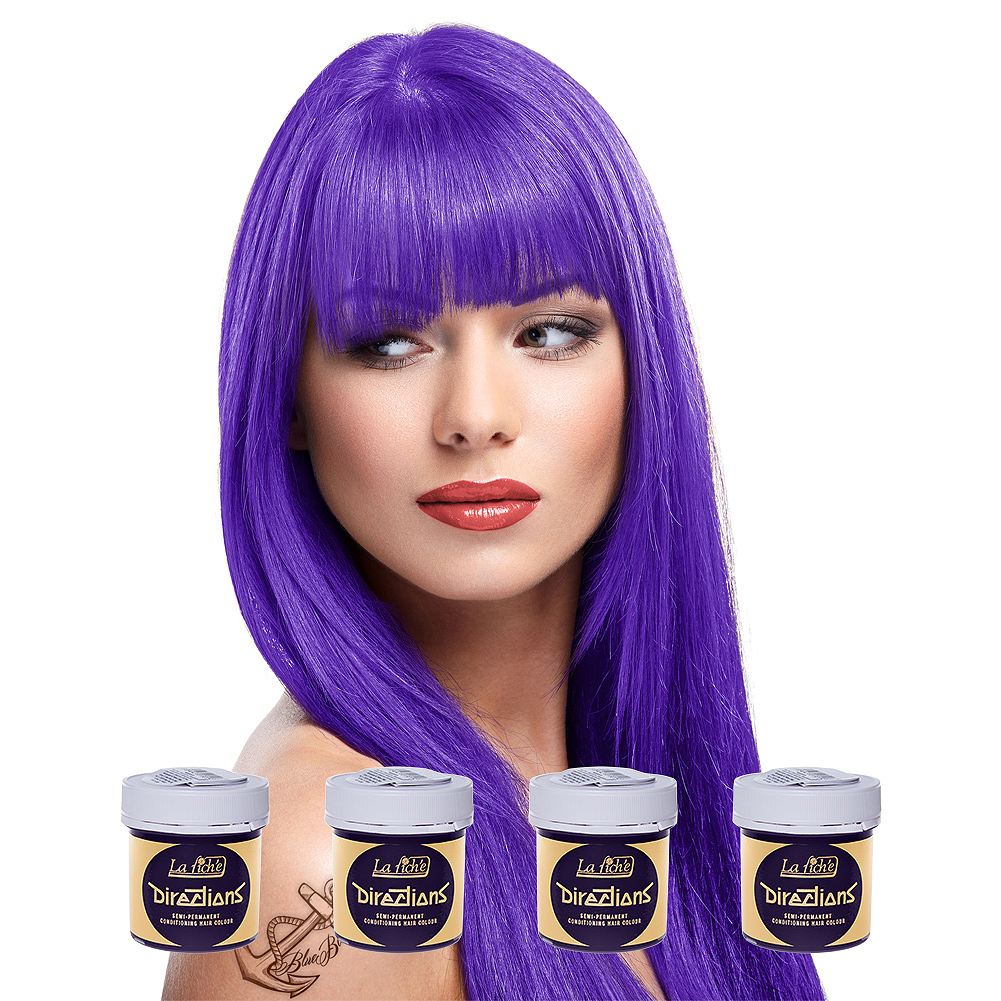 La Riche Directions Pack De 4 Colorations Semi-Permanentes + 1 Brosse De Teinture Offerte (Violet)