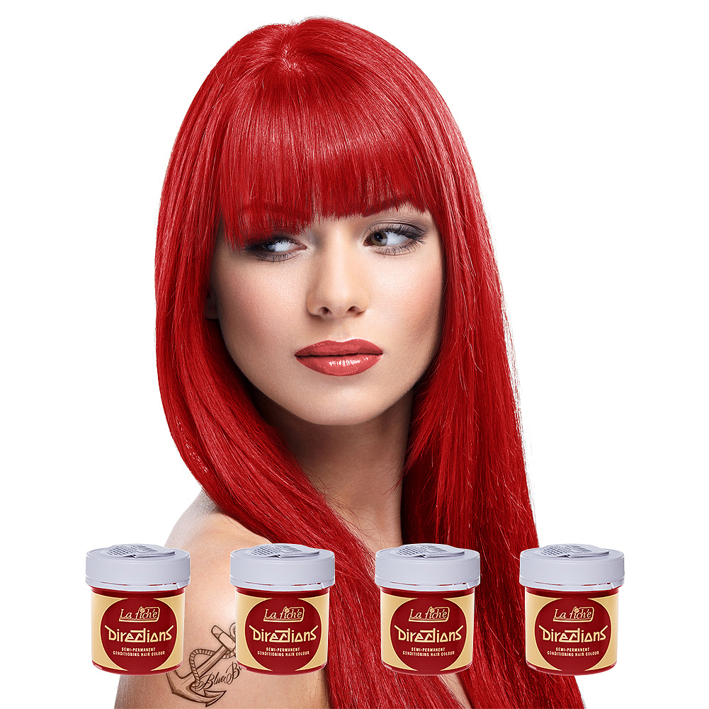 La Riche Directions Pack De 4 Colorations Semi-Permanentes + 1 Brosse De Teinture Offerte (Pillarbox Red)