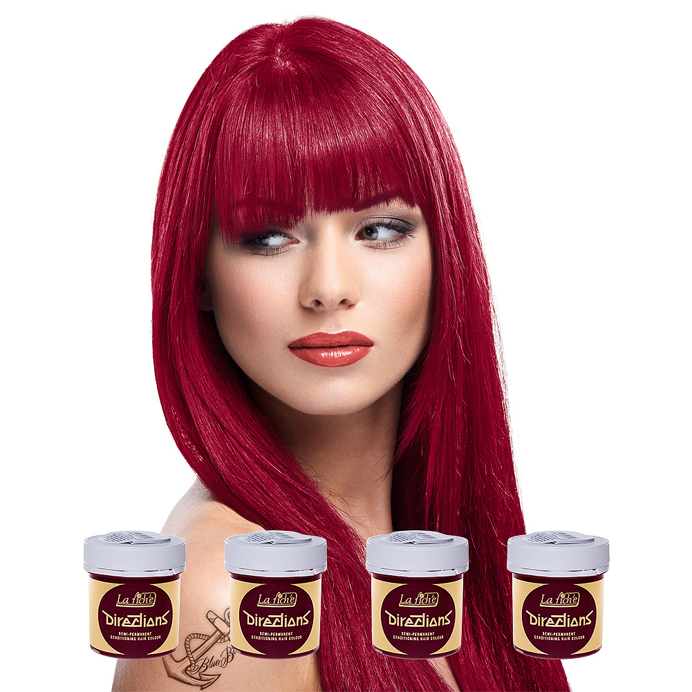 La Riche Directions Pack De 4 Colorations Semi Permanentes + 1 Brosse De Teinture Offerte (Rose Red)