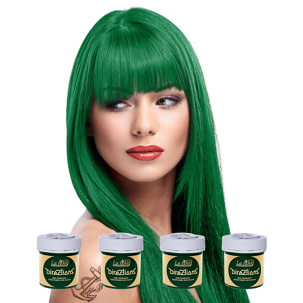La Riche Directions Pack De 4 Colorations Semi Permanentes + 1 Brosse De Teinture Offerte (Apple Green)
