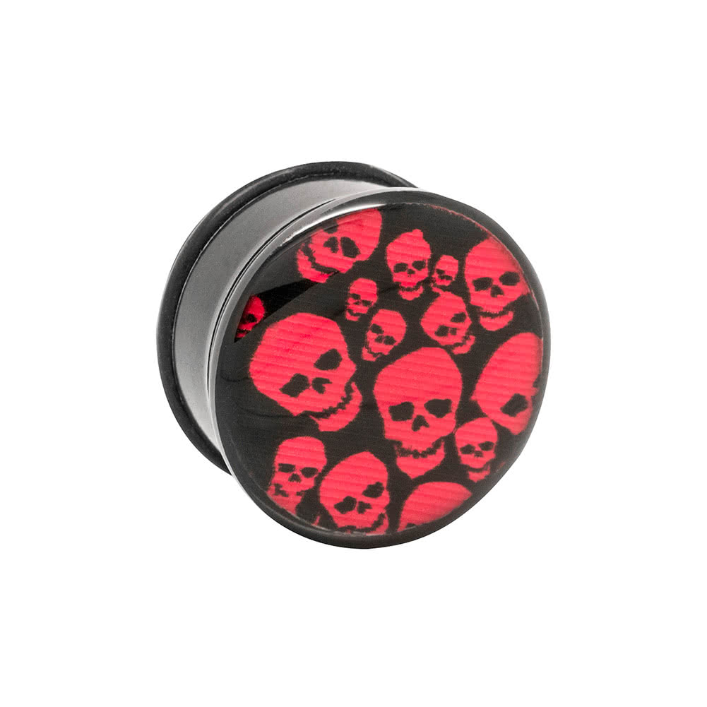 Blue Banana Acrylic Skulls Ear Plug 4-22mm (Red)