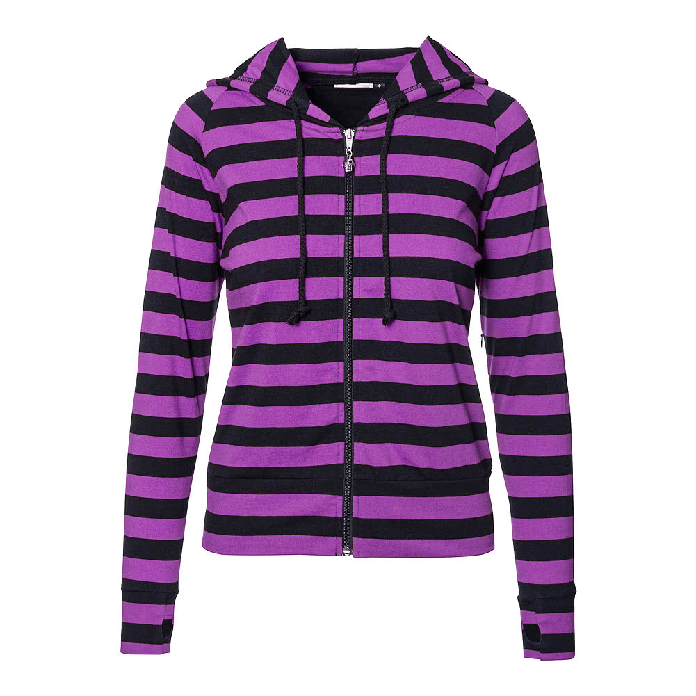 Banned Purple Black Striped Hoodie, Alternative Hoodies Tops UK