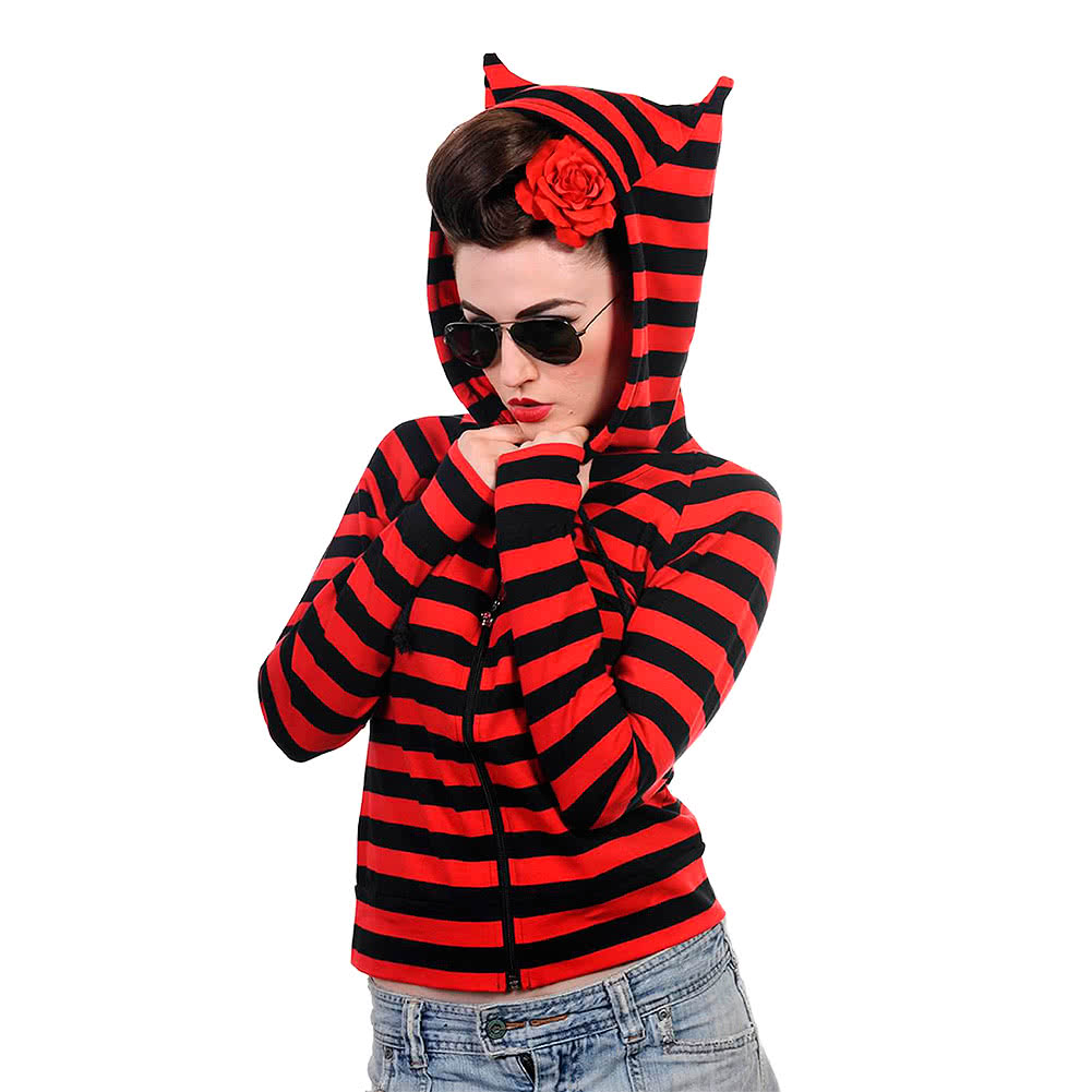 Banned Striped Hoodie (Red/Black)