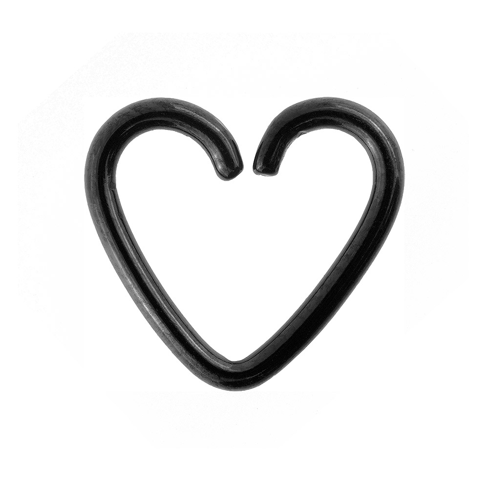 Blue Banana Surgical Steel 1.2mm Daith Heart Ring (Black)