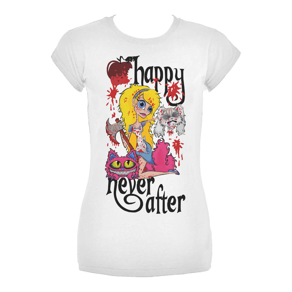 Wholesale Happy Never After Alice Severed Head Skinny Fit T Shirt (White) for sale