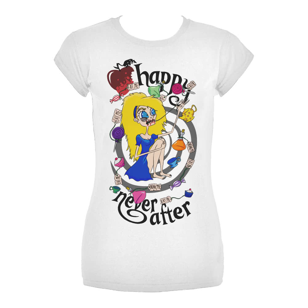 Happy Never After Alice Spiral Skinny T Shirt (White)