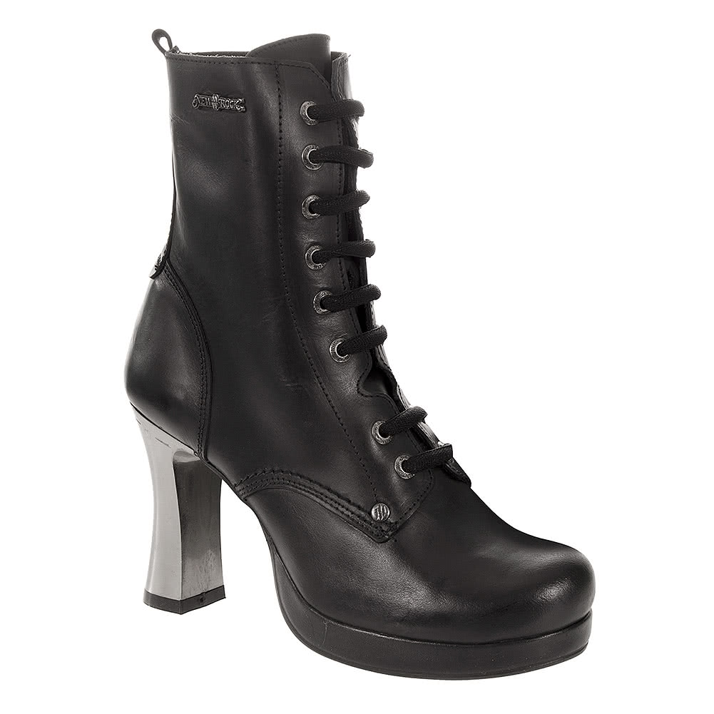 New Rock M.GOTH5831-C1 Goth Heeled Boots (Black)