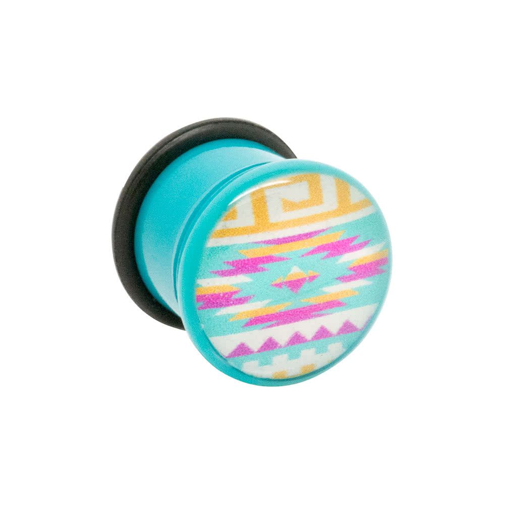 Blue Banana Acrylic Aztec Turquoise Ear Plug 4-12mm (Multicoloured)