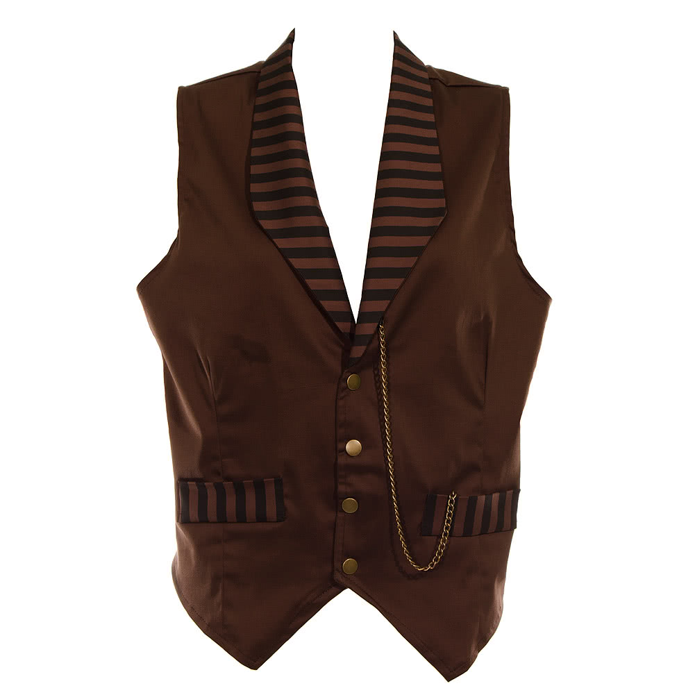 Golden Steampunk Stripe Waistcoat (Brown)