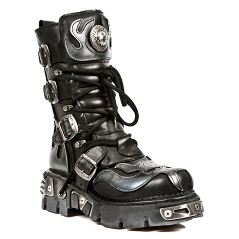 New Rock M.107-S2 Reactor Demon Flame Boots (Black/Silver)
